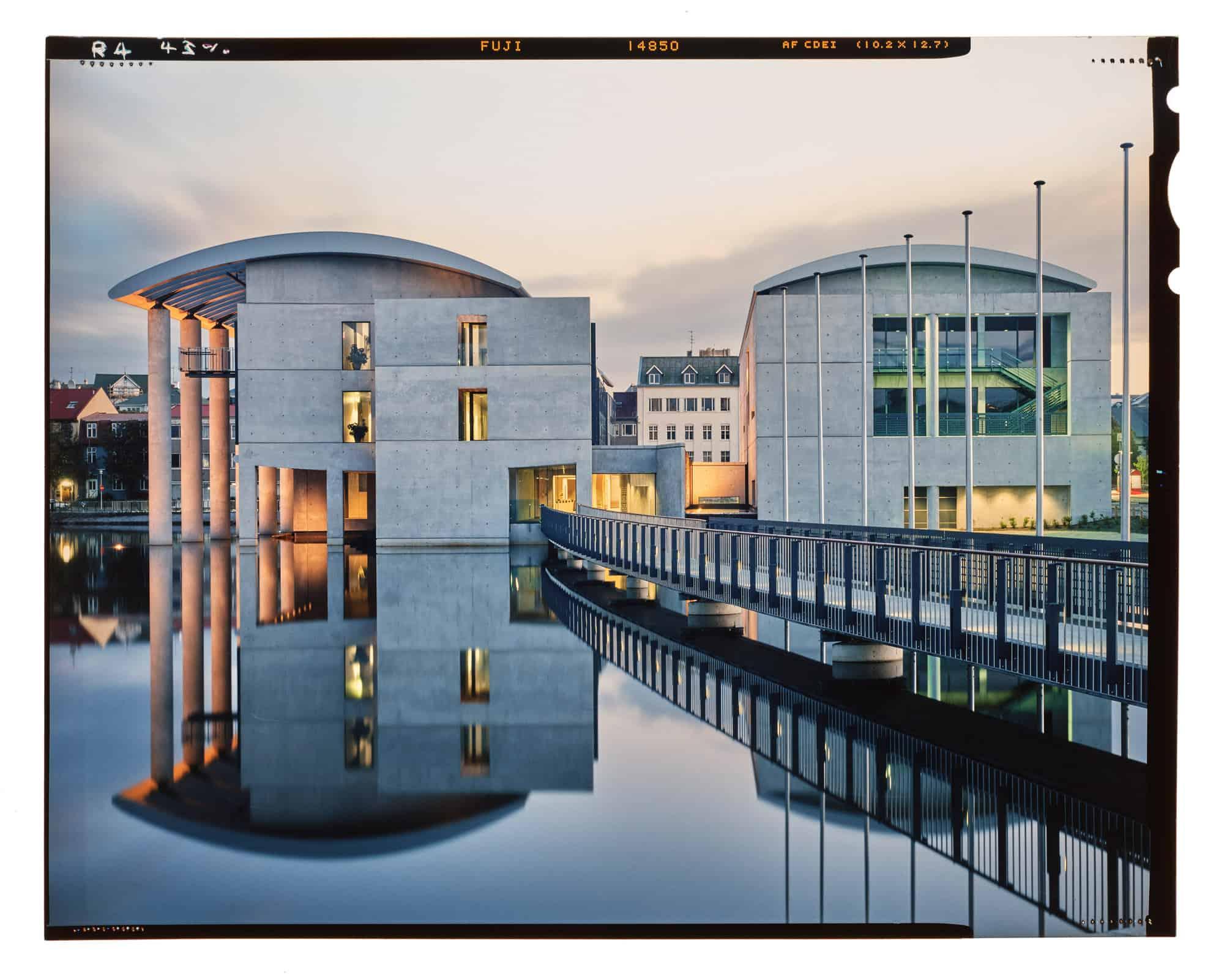 City Hall Reykjavik at dusk in the lake